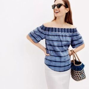 J.Crew Collection Silk Off-the-shoulder Top Plaid
